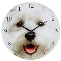 "BATTERY OPERATED WESTIE DOG FACE DESIGN WALL CLOCK 7"" WIDE...."
